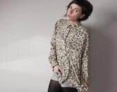 Alexa- Vintage Moss Green Leopard Print Shirt (S-M)