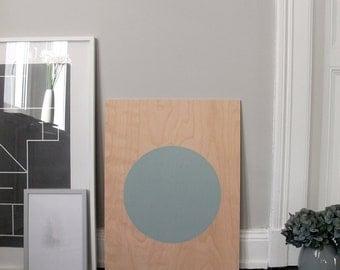 circle screenprint on plywood, celadon