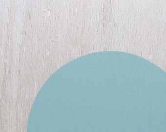 circle screenprint on plywood, celadon