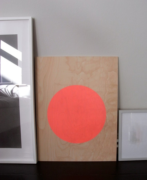 circle screenprint on plywood