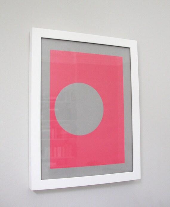 inverse circle screenprint, neon pink