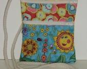 SALE Wallet on a String Purse Bag Cotton Zipper Pockets Colorful Sun Sunflower