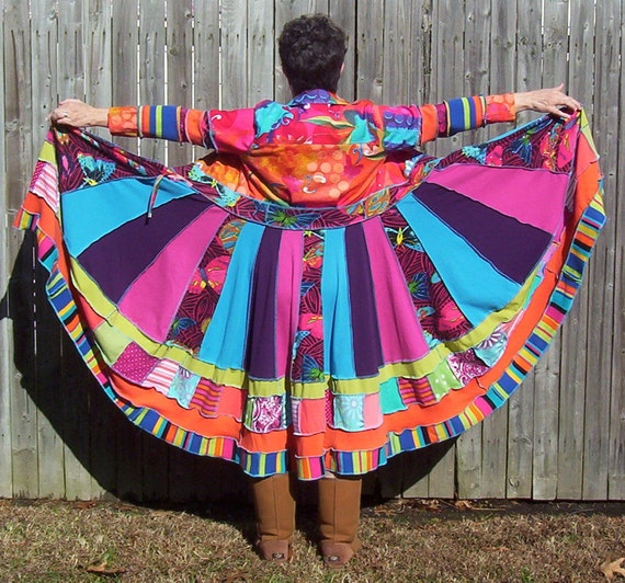 COLORFUL COTTON Sweater Coat Repurposed Recycled