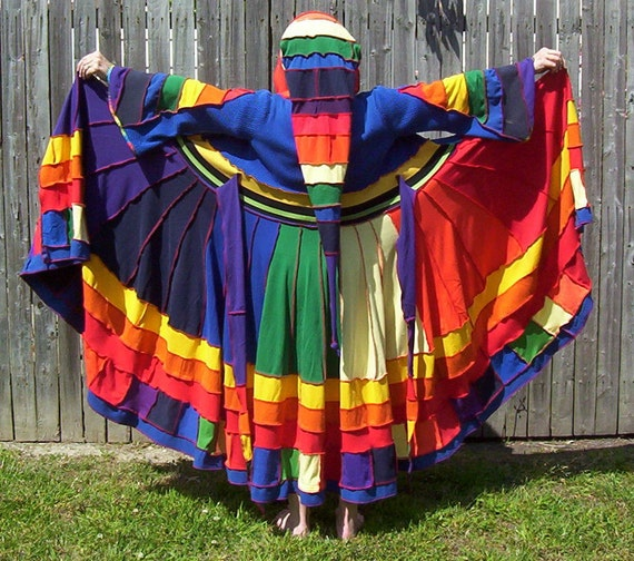 SALE Rainbow Cotton SWEATER COAT recycled reconstructed