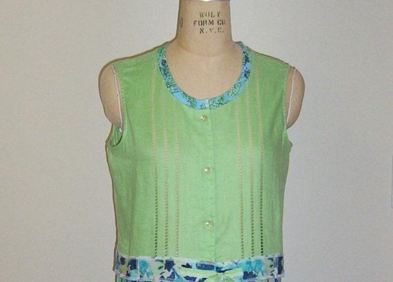 SALE Green and Aqua Dress Repurposed Recycled Boho Summer