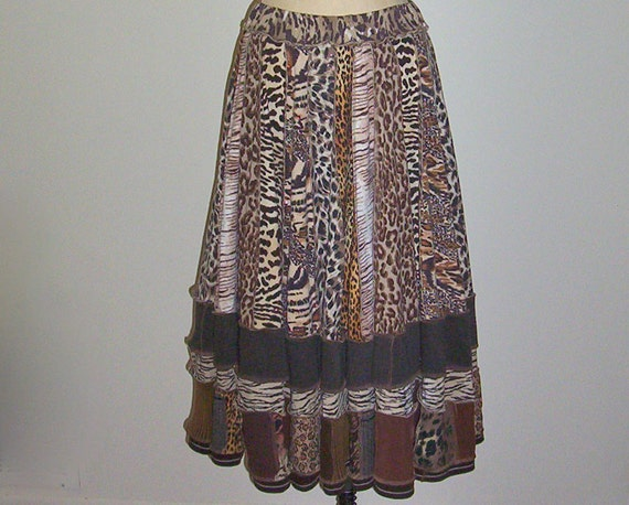 SALE Animal Print Skirt Repurposed Recycled Upcycled Boho Hippie