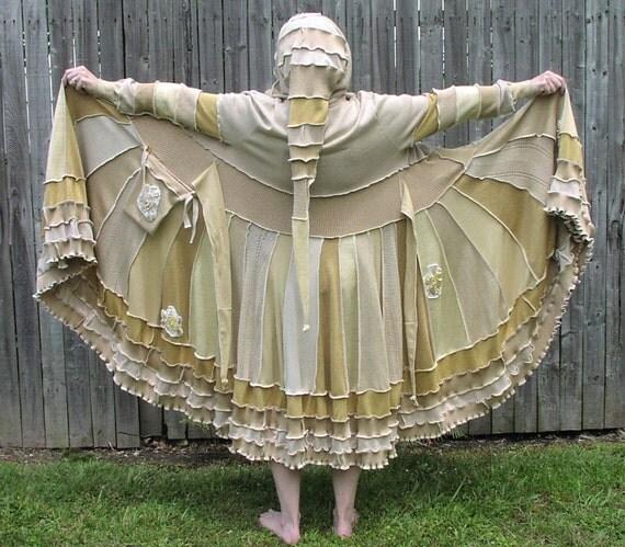 Sale Metallic Gold Sweater Coat recycled boho style upscaled faerie gypsy elf coat Hoodie
