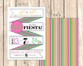 Fun & Quirky Mexican Fiesta Party Invitation--5x7, Fully Customizable, Rehearsal Dinner, Birthday Party, Engagement Party, Anniversary Party