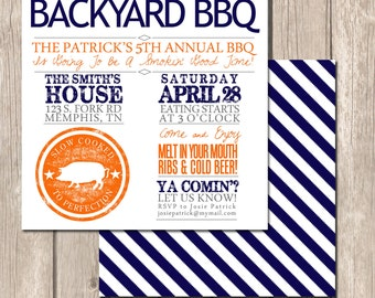 Summer Backyard BBQ Invitation- Perfect Invitation for Birthday Parties, Engagement Parties, Or Couples' Showers
