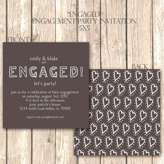 Whimsical and Modern Engagement Party Invite--Customized Invitation, Fun Heart Design, Quirky Font, Pick Your Own Colors