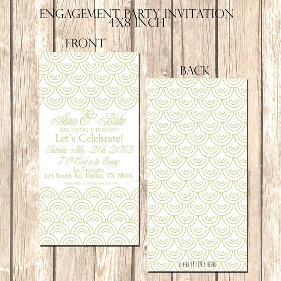Elegant and Modern Engagement Party Invitation--Personalize with Colors, Fonts, Wording, Etc. Professionally Printed, Envelopes Included