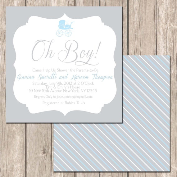simple and traditional baby shower invitation baby boy or girl shower