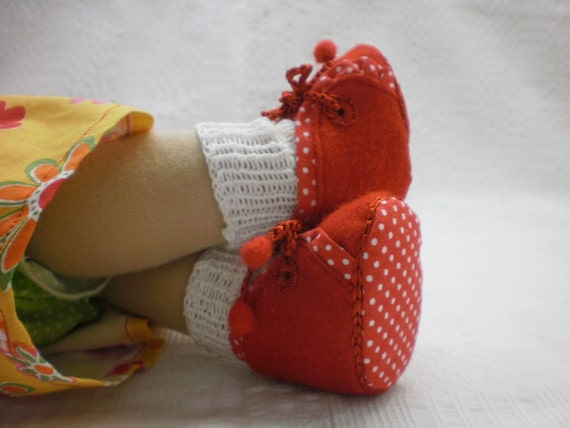"""Red shoes for 12""""waldorf doll, with white socks,shoes for doll"""