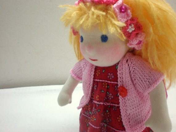 """S A L E 40%   waldorf inspired doll 9"""" red dress,lovely gift with children"""