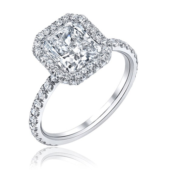 Diamond Engagement Ring 1.50 carat Radiant and Round Cut Diamonds in 14K White Gold