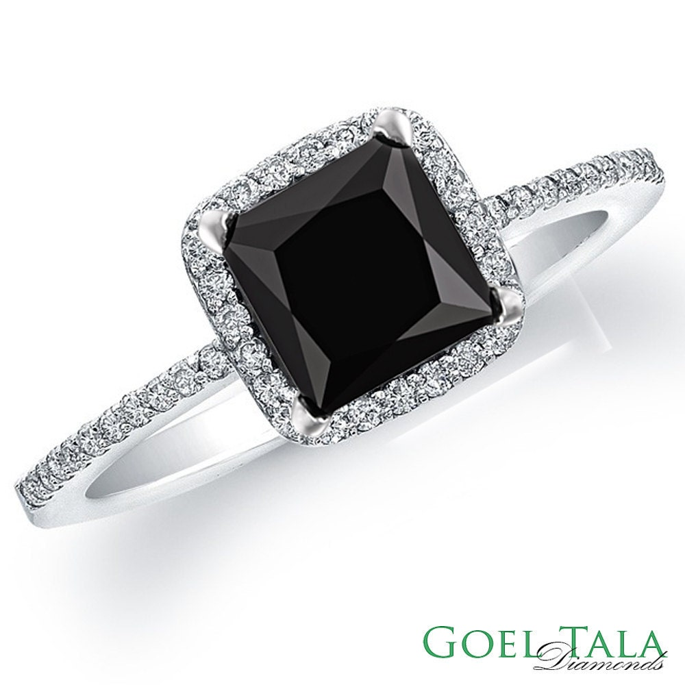 Diamond Engagement Ring 1.60 carat Black Princess Cut Diamond