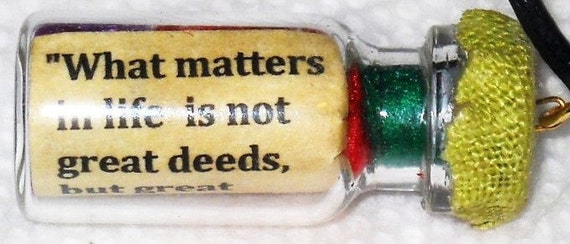 """St. Therese """"Little Flower"""" LOVE Message in a Bottle Pendant  Recycled"""