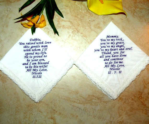 Items Similar To Personalized Wedding Handkerchiefs Mother Of The Bride And G