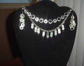 The Cleopatra Sterling Silver and Agate Stone Necklace and Earring Set
