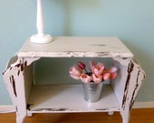White Chippy Side Table