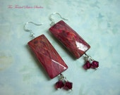 Earrings Funky Boho Hippie Wild Long Faceted Rectangle Burgundy Red Earrings Acrylic Beads and Swarovski Crystals