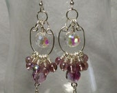 Earrings - Dangle- Purple - Funky Hippie Boho Chic - Prom, Glam, Large Crystals, Round Glass Beads Wire Wrapped with Silver Metal,