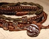 Owl totem leather wrap bracelet