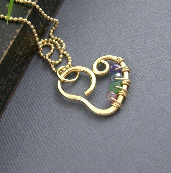 Sweet heart birthstone necklace - 14K Gold Filled - gifts for bridesmaid, mother of bride, moms, grandmom n20