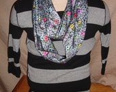 Gray and Black Infinity Scarf with yellow, blue, pink and yellow flowers 10% Discount use code ENDOFWINTER