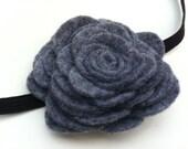 Large Felt Rose Flower Headband in Gray
