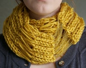 Mustard Yellow & Gold Knit Scarf with chain, Infinity, Cowl- the Flourish Signature Scarf
