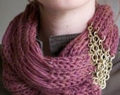 Heathered Pink Plum Knit Scarf with chain, Infinity, Cowl- the Flourish Signature Scarf