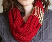 Red knit scarf with gold chain, Infinity, Cowl- the Flourish Signature Scarf