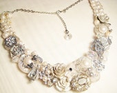 Silver Statement Necklace- Bridal Bib Necklace- Vintage Wedding Jewelry with Rhinestones, Crystals, and Pearls, White