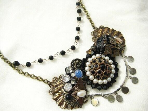 Antique Brass Bib Necklace with Black Vintage Brooch, Rhinestones, and Beads- Collage Statement Piece