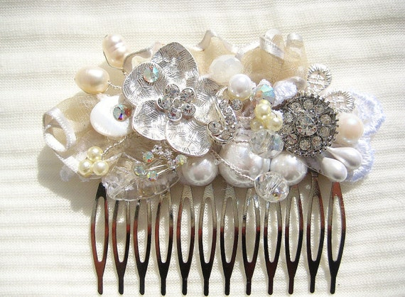 Bridal Hair Comb in Silver and Ivory- Wedding Hair Piece- Vintage Hair Accessories- Rhinestone, Pearls, Crystals, Ribbon