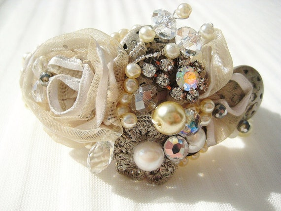 Couture Beaded Bridal Bracelet in Ivory with hand-sewn pearl encrusted cuff, champagne rosette, vintage rhinestones, hand-wired pearls, OOAK