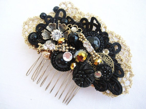 Black Wedding Comb- Gold Hairpiece- Bridal Hair Comb- Wedding hair accessories- Black & Gold Comb- Black Hair Clip- Wedding Hairpiece