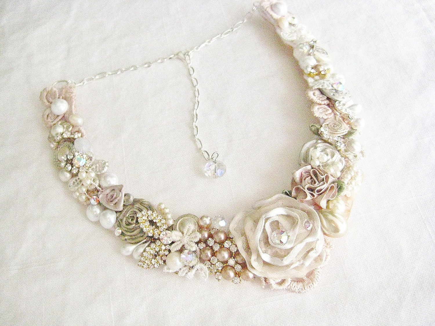 Blush bridal bib necklace champagne pink wedding statement for Jewelry for champagne wedding dress