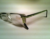 Clear frames with lime green crystals reading glasses - Just for Fun Reading Glasses