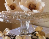 Vintage Crystal Dessert stand,  Cake Plate perfect for weddings and special events