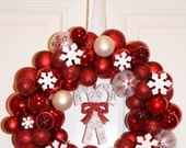 "Retro style red, snowflake, candy cane, jingle bells, ribbon and tinsel 14"" round handmade Christmas ornament wreath"
