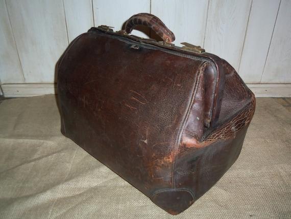 Antique genuine leather doctors bag, leather doctors medical bag