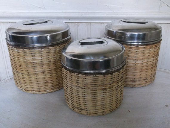 sale vintage stainless steel canister set by frenchtwine. Black Bedroom Furniture Sets. Home Design Ideas