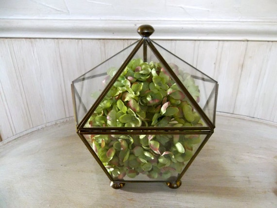 Reserved for D...Vintage Glass Terrarium Glass and Brass Terrarium