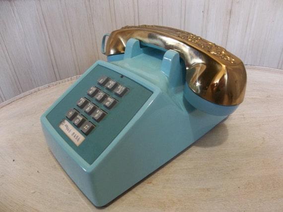Vintage Phone Telephone Turquoise Phone Aqua Phone 1970s Gold Phone