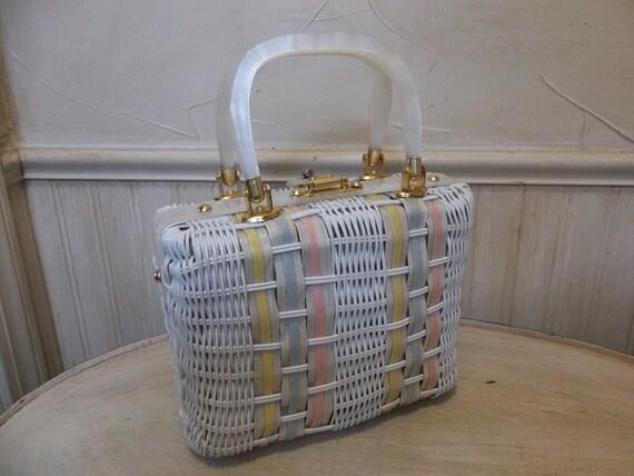 Vintage Stylecraft Wicker Lucite 1950s Purse Vintage Woven Wicker Handbag Lucite Purse