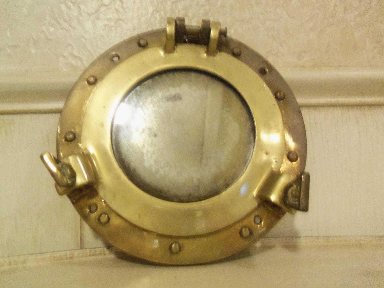 Antique Brass Nautical Porthole Mirror