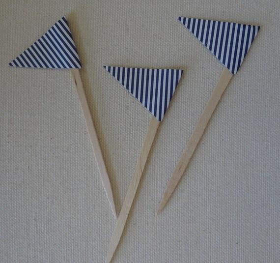 Sweet Stripes Cupcake Picks- Set of 12