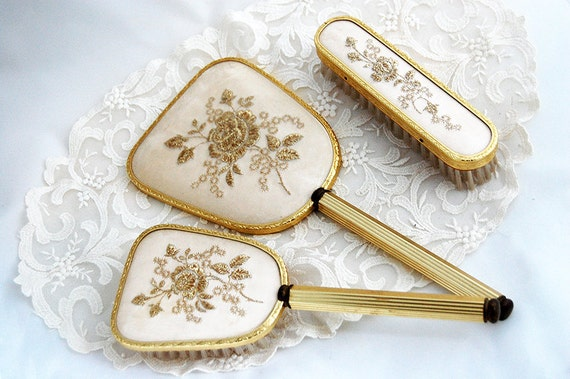 TREASURY ITEM - Gold and ivory color dressing table set, brush and mirror set, gold thread embroidery, excellent condition